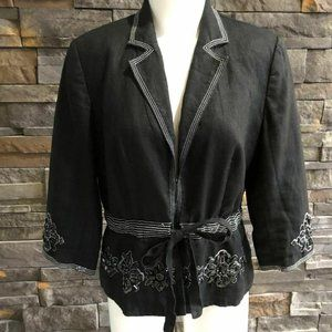 JM Collection Linen Blazer with Embellishments, si